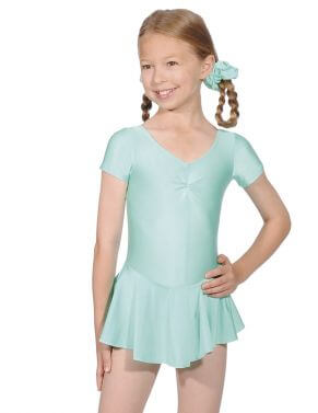 Short Sleeve Lycra Leotard With Skirt